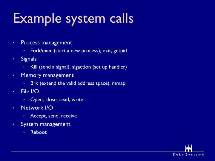 Example system calls
