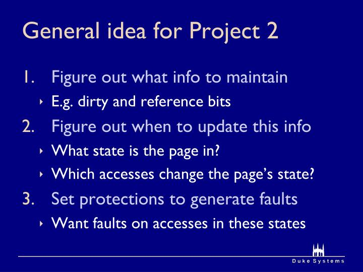 General idea for Project 2
