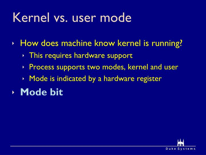 Kernel vs. user mode