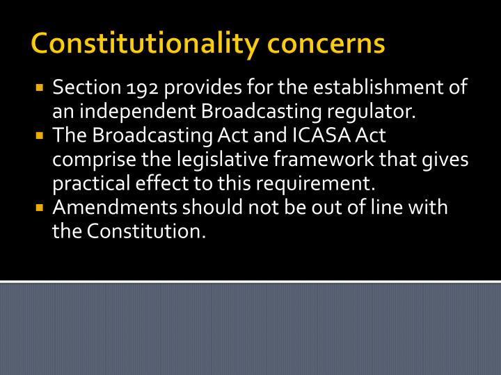 Constitutionality concerns