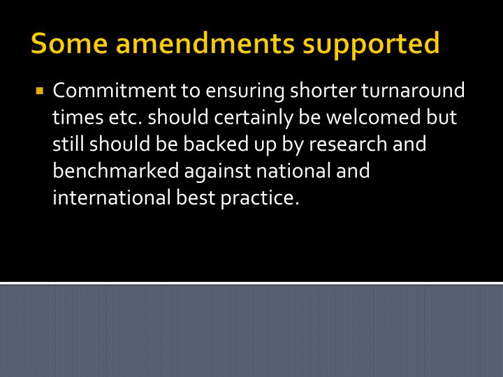 Some amendments supported