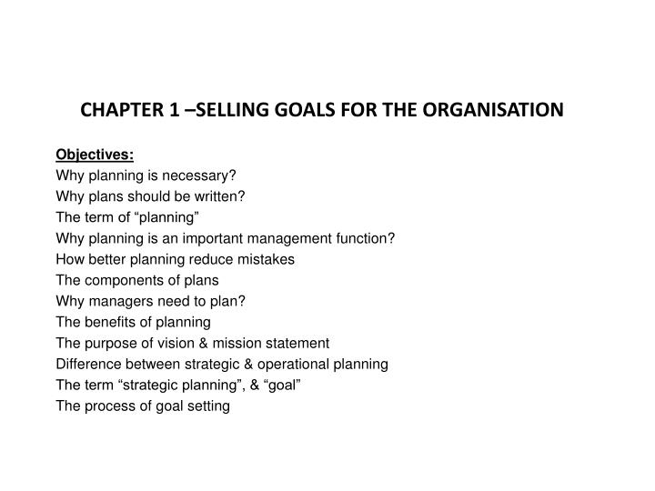 CHAPTER 1 –SELLING GOALS FOR THE ORGANISATION
