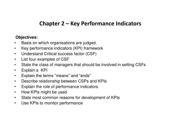 Chapter 2 – Key Performance Indicators