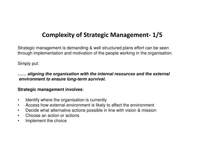 Complexity of Strategic Management- 1/5
