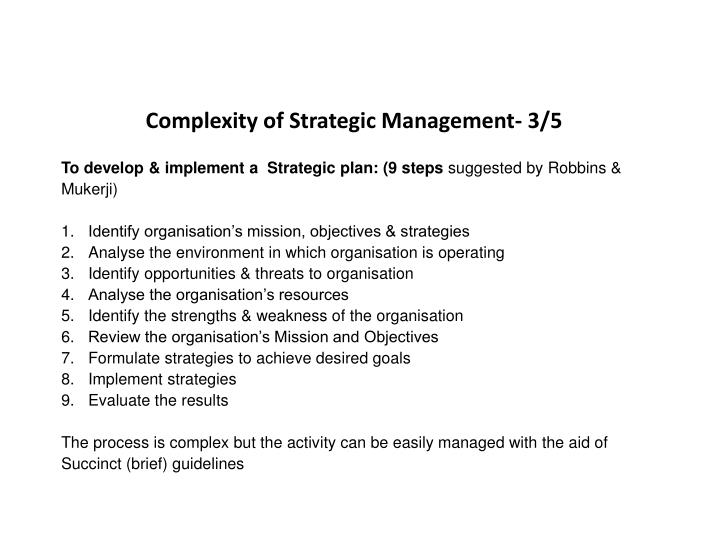 Complexity of Strategic Management- 3/5