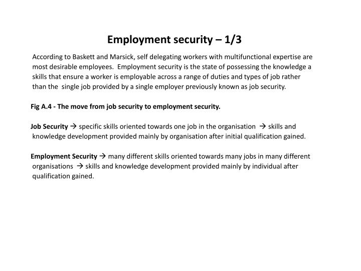 Employment security – 1/3