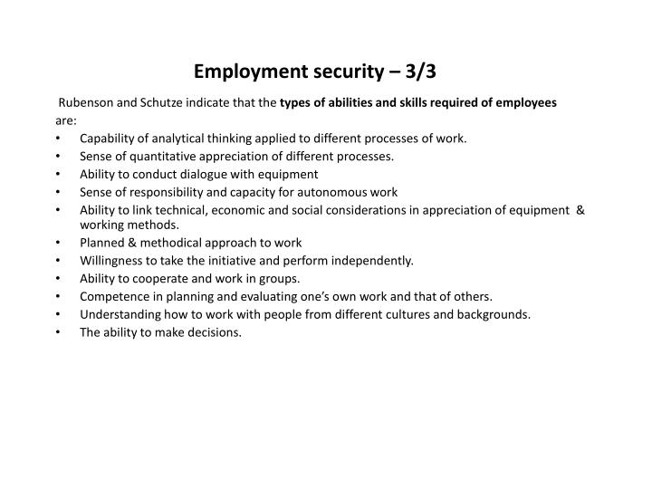 Employment security – 3/3