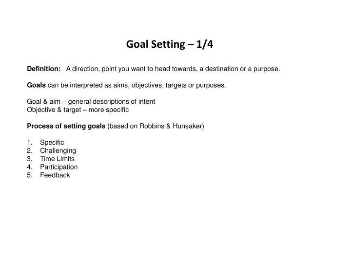 Goal Setting – 1/4