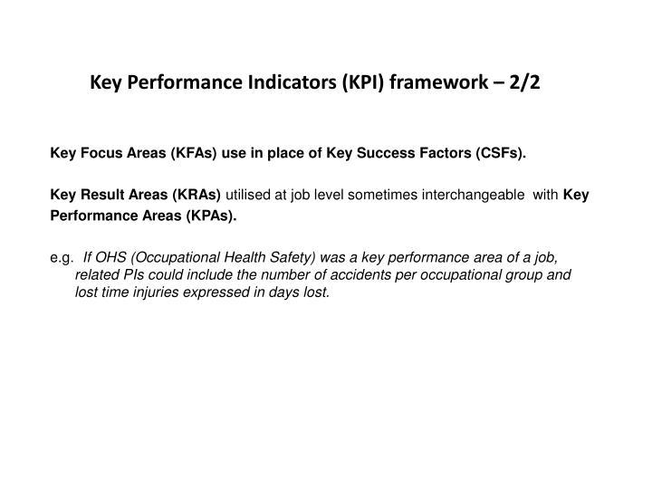 Key Performance Indicators (KPI) framework – 2/2