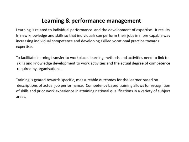 Learning & performance management