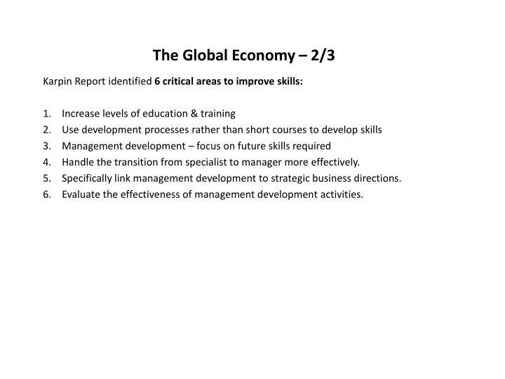 The Global Economy – 2/3