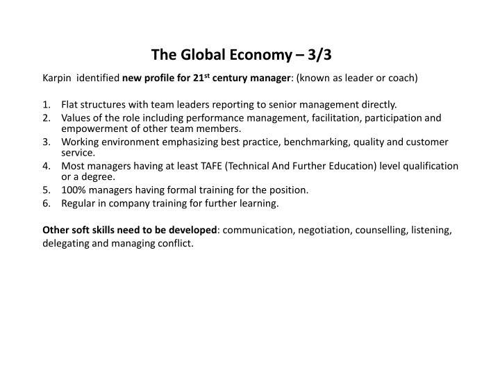 The Global Economy – 3/3