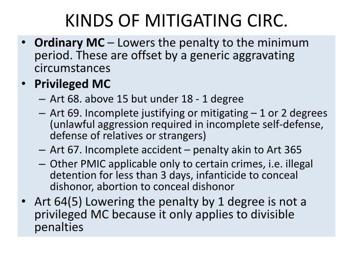 KINDS OF MITIGATING CIRC.