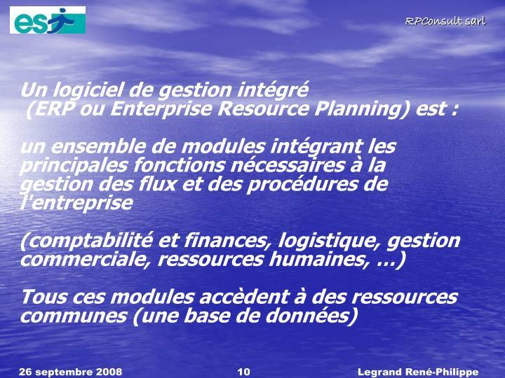 Un logiciel de gestion intégré
