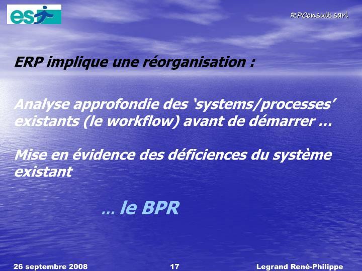 ERP implique une réorganisation :