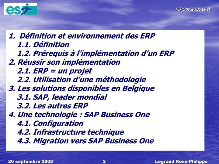 Définition et environnement des ERP