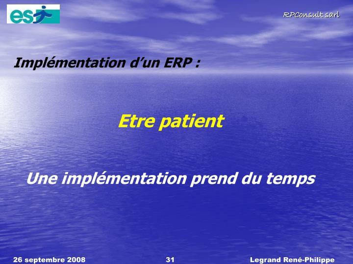 Implémentation d'un ERP :