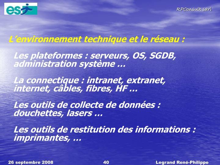 L'environnement technique et le réseau :
