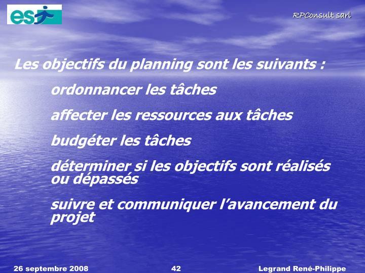 Les objectifs du planning sont les suivants :