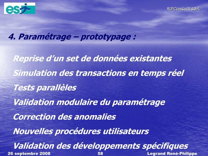 4. Paramétrage – prototypage :