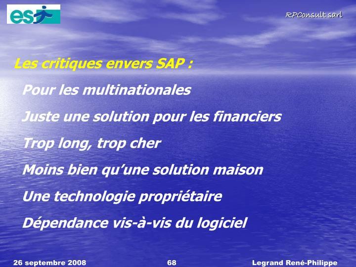 Les critiques envers SAP :