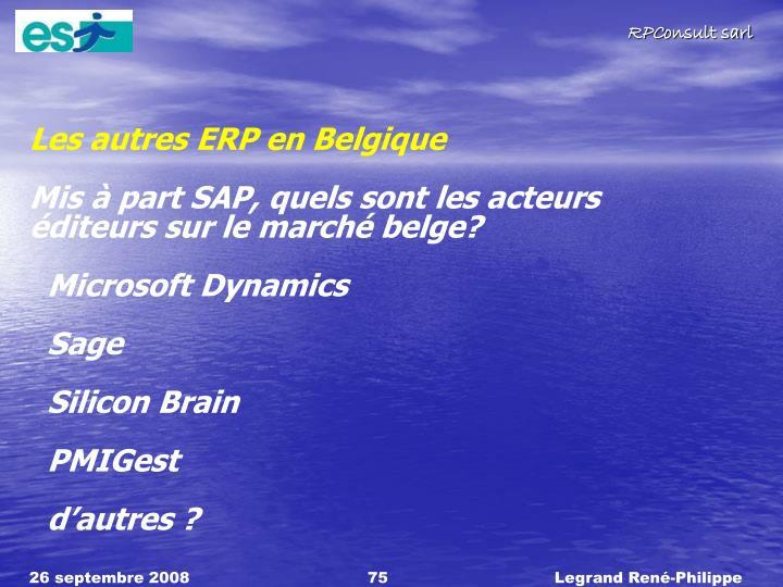 Les autres ERP en Belgique