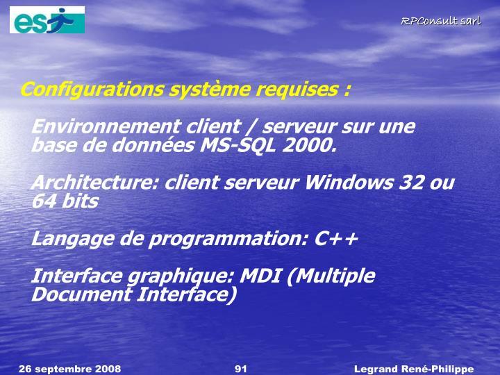 Configurations système requises :