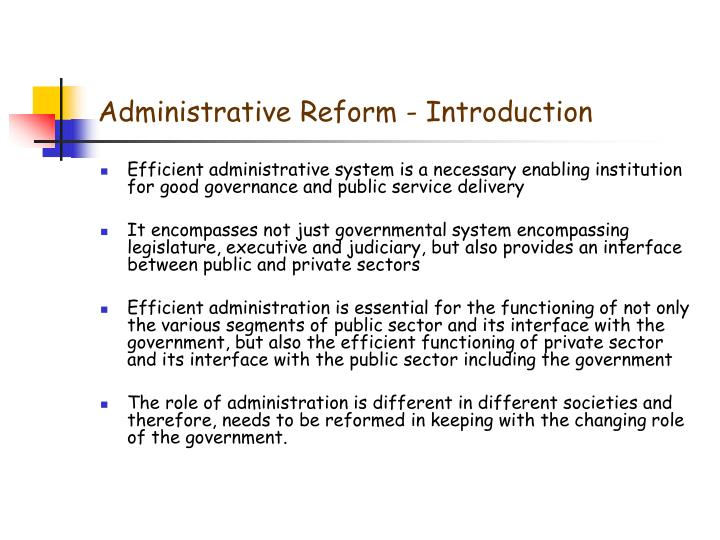 Administrative reform introduction