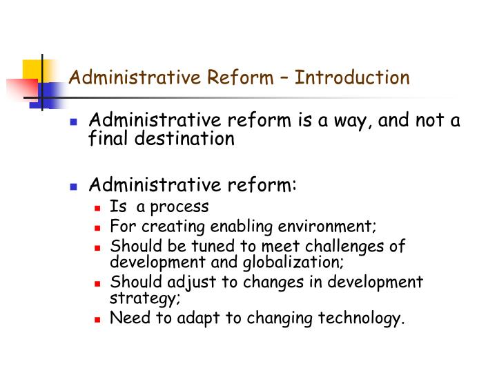 Administrative Reform – Introduction