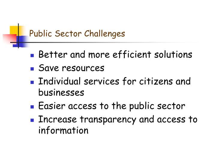 Public sector challenges