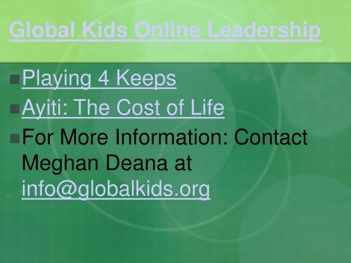 Global Kids Online Leadership