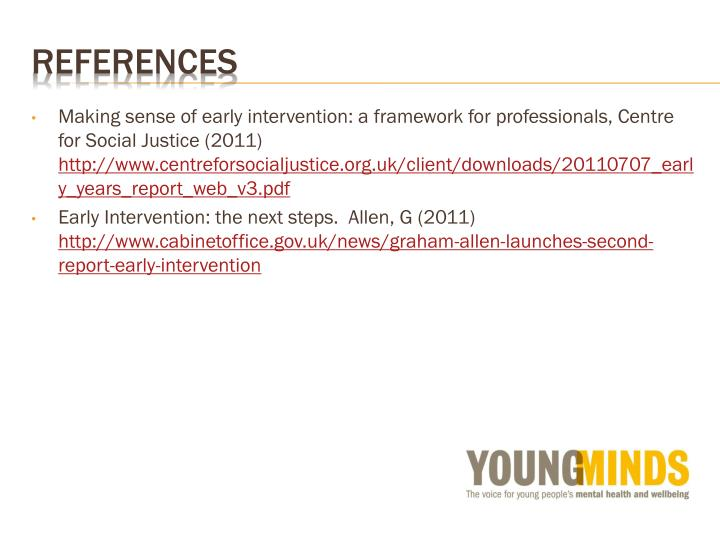 Making sense of early intervention: a framework for professionals, Centre for Social Justice (2011)