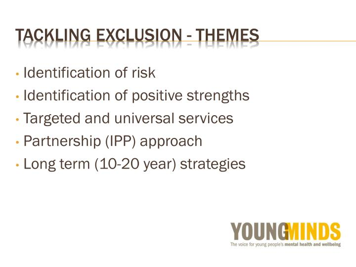 Tackling exclusion - themes
