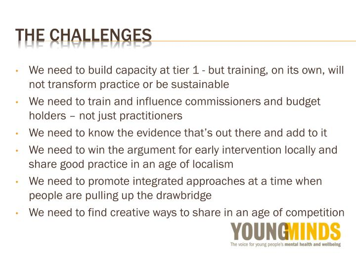 We need to build capacity at tier 1 - but training, on its own, will not transform practice or be sustainable