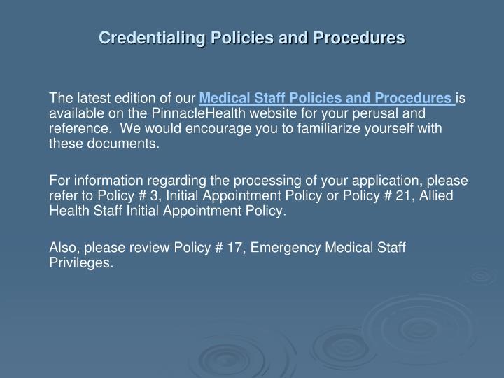 Credentialing Policies and Procedures