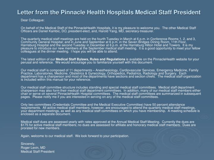 Letter from the Pinnacle Health Hospitals Medical Staff President