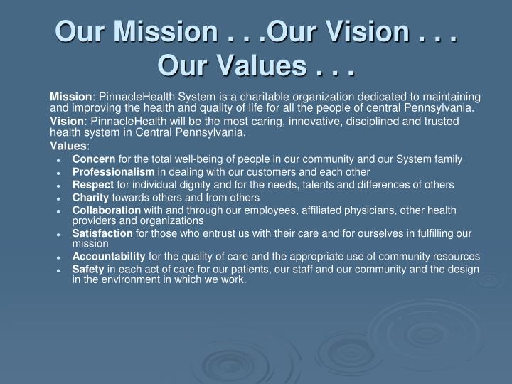 Our Mission . . .Our Vision . . .