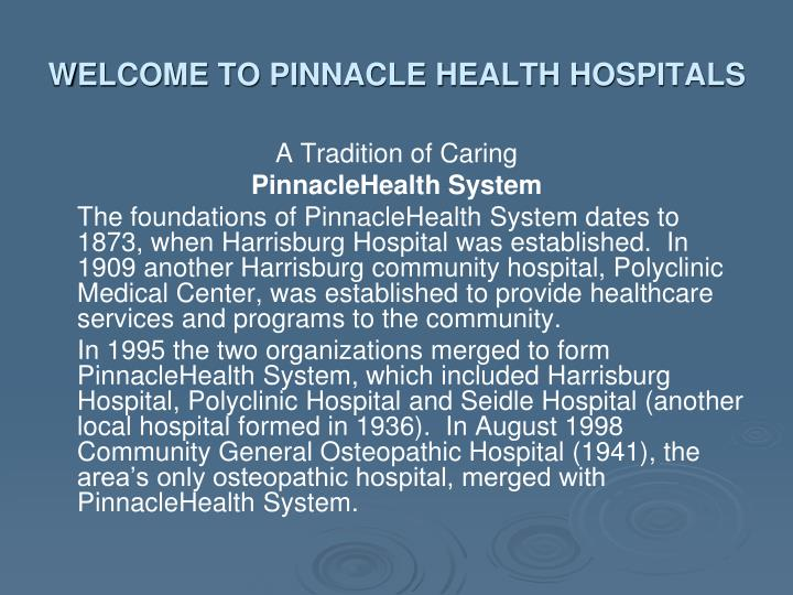 Welcome to pinnacle health hospitals