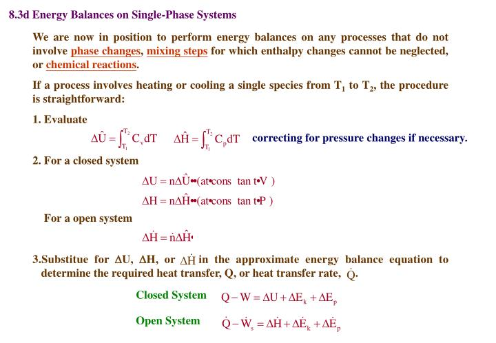 8.3d Energy Balances on Single-Phase Systems