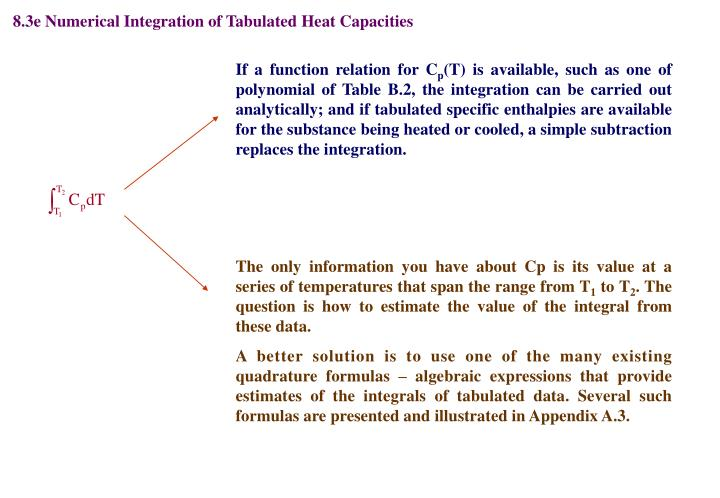 8.3e Numerical Integration of Tabulated Heat Capacities