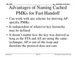 advantages of naming cached pmks for fast handoff4