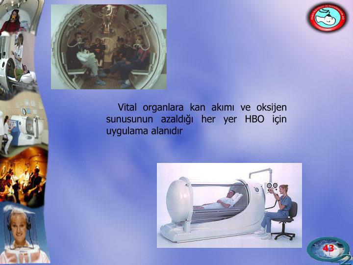 Vital organlara kan akımı ve oksijen sunusunun azaldığı her yer HBO için uygulama alanıdır