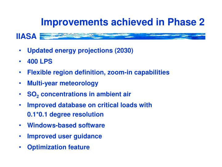 Improvements achieved in phase 2