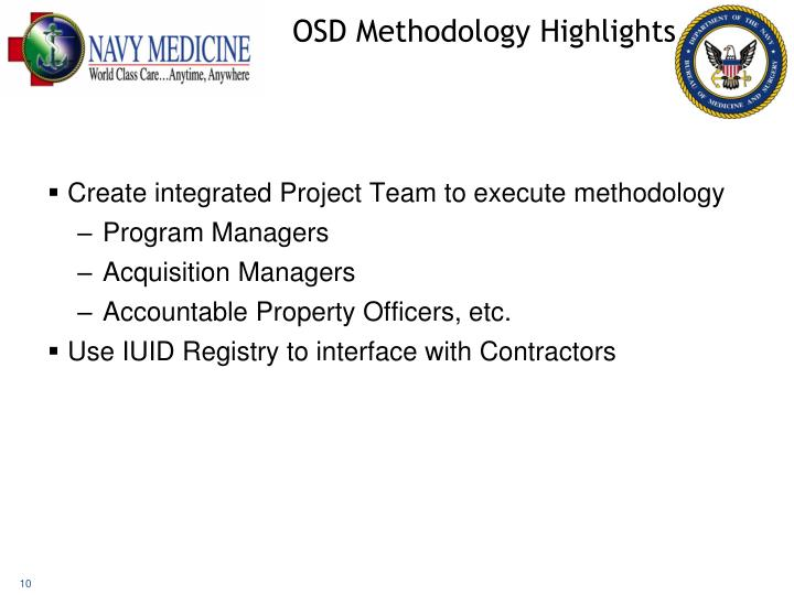 OSD Methodology Highlights