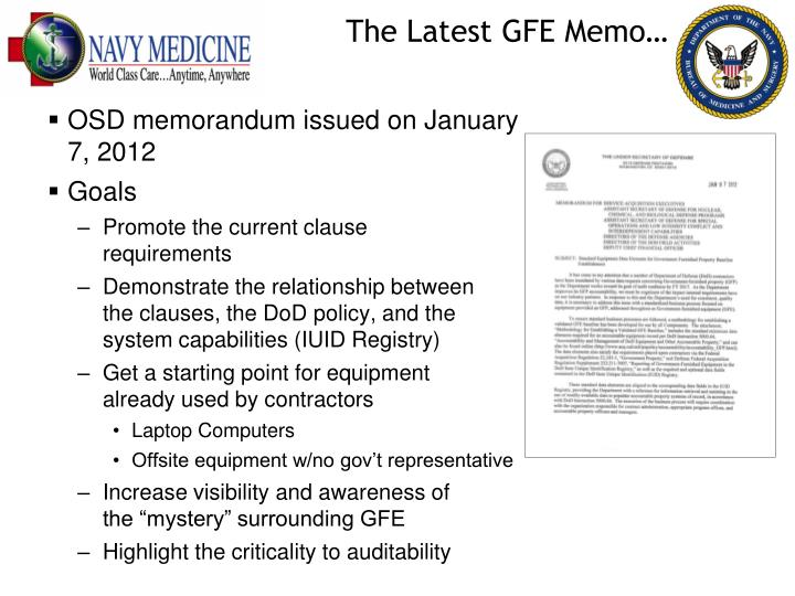 The Latest GFE Memo…