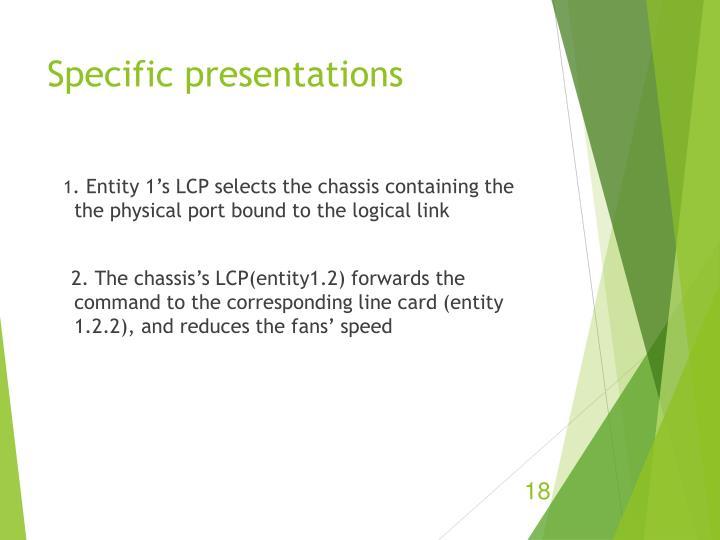 Specific presentations