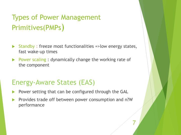 Types of Power Management Primitives(PMPs