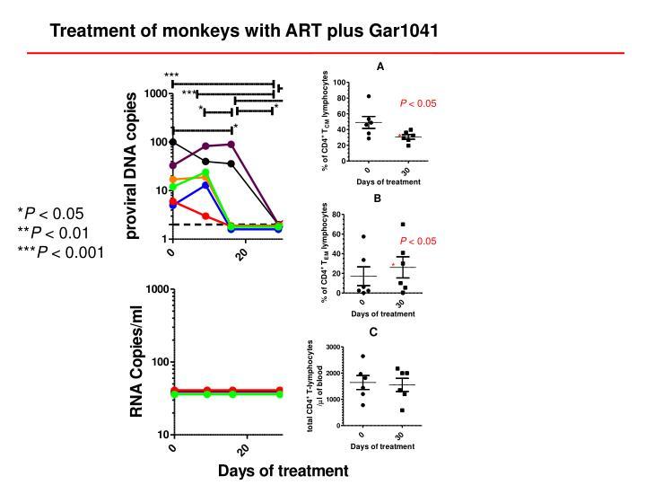 Treatment of monkeys with ART plus Gar1041