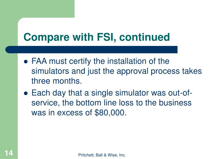 Compare with FSI, continued