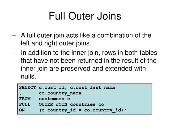 Full Outer Joins